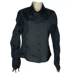 Club Monaco S Black Button Up Adjustable sleeves